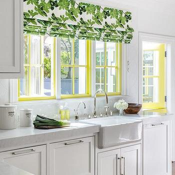 Green Leaf Pattern Kitchen Roman Shade Design Ideas