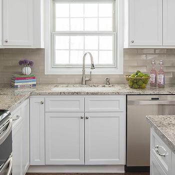 Ice Brown Granite Countertops & Light Brown Ceramic Kitchen Backsplash Design Ideas