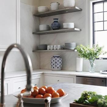 white kitchen cabinets with stacked gray shelves - Metal Kitchen Shelves