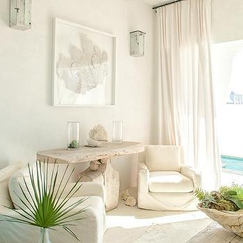 White Beach Style Room with White Sea Fan Art & Whitewashed Living Room Wall Sconces Design Ideas