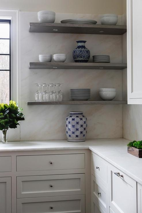 Gray Kitchen Shelves With LED Lighting