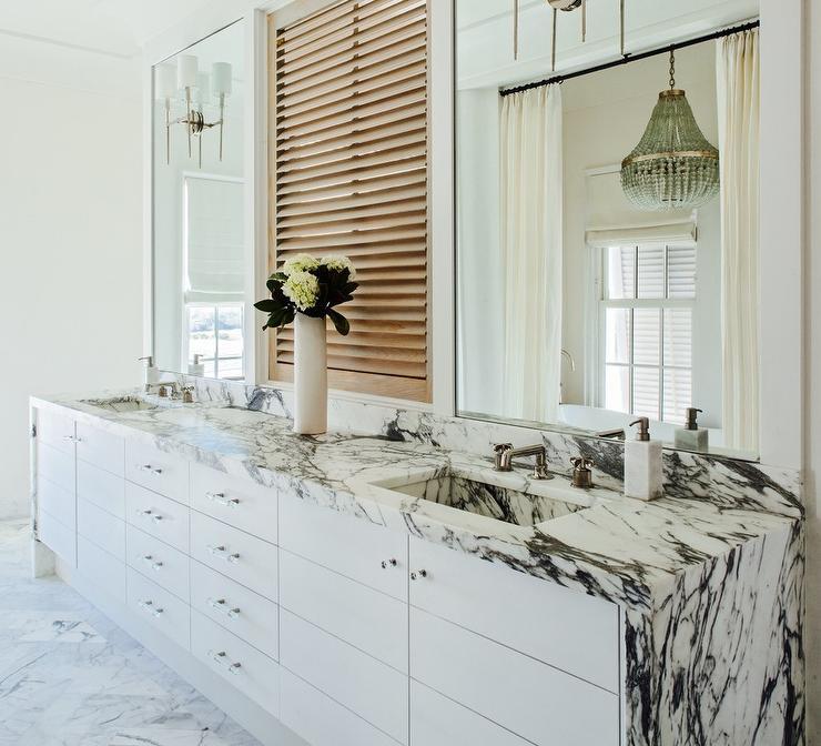 Black Marble Waterfall Countertop, Waterfall Bathroom Vanity