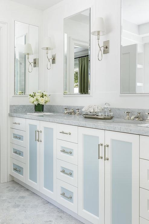 Stacked Blue Bath Vanity Drawers - Transitional - Bathroom