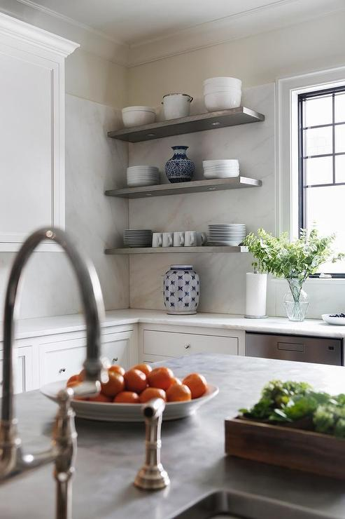 White Kitchen Cabinets With Stacked Gray Shelves