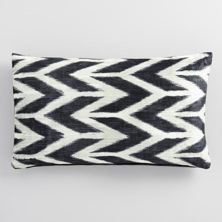 Abstract Chevron Velvet Lumbar Pillow