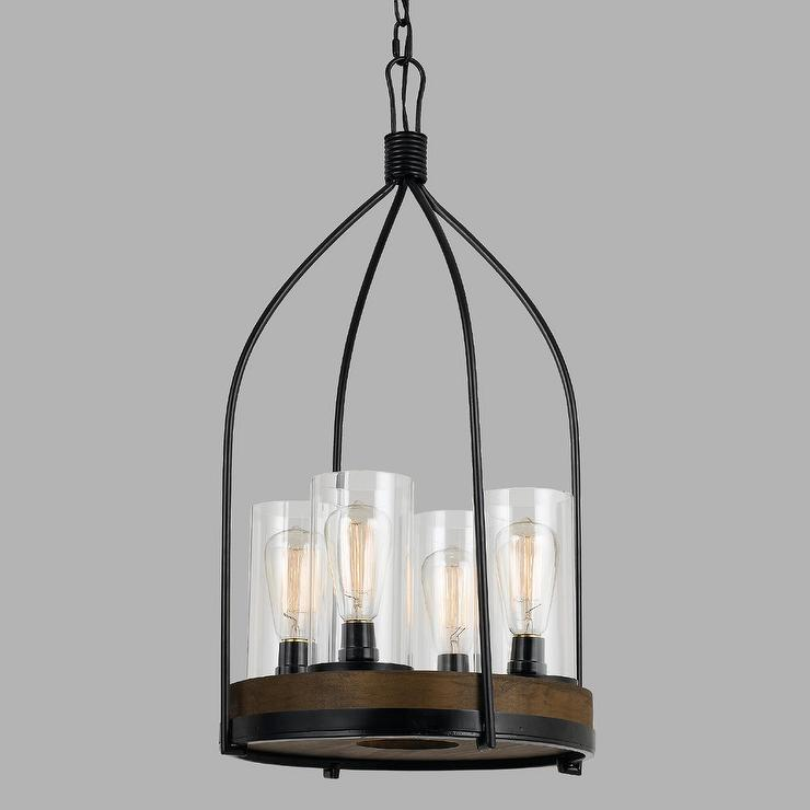 Wood and iron 4 light aubrey pendant