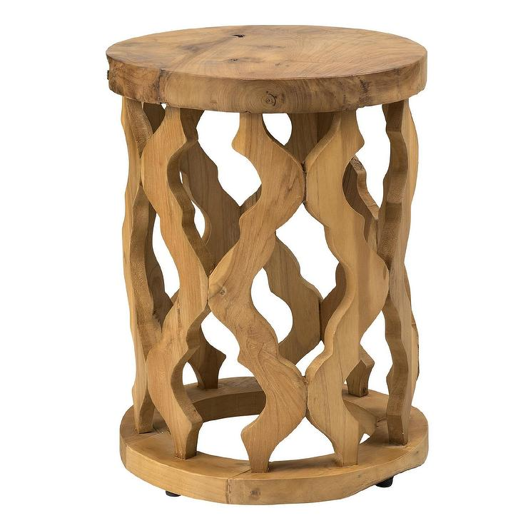Lenox Brown Round Teakwood Accent Table