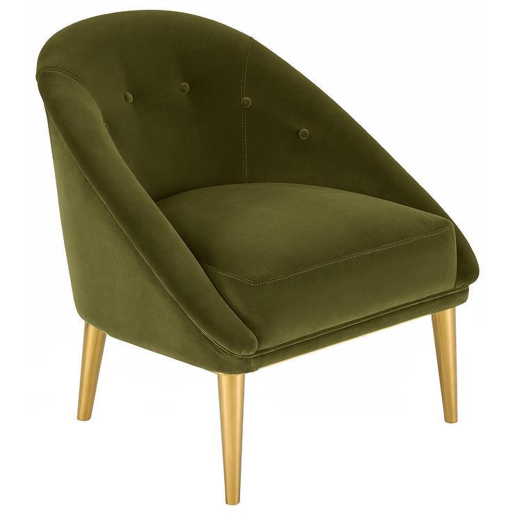 Pine Dark Olive Green Velvet Club Chair