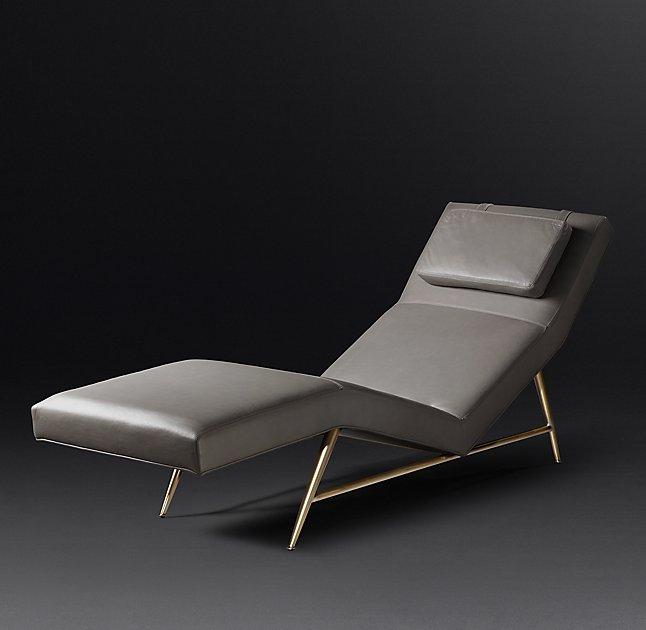 modern gray leather chaise