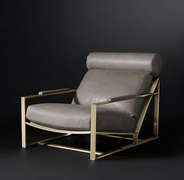 Milo Brass Gray Leather Chair