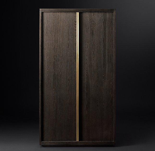 Bezier Brass Double Door Cabinet
