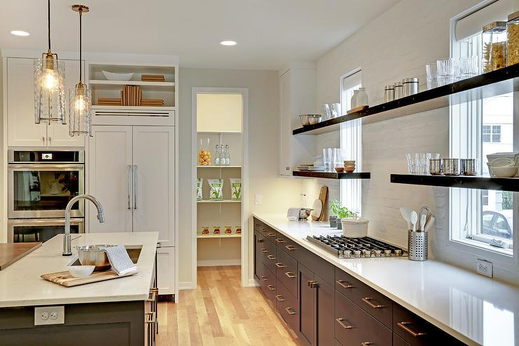 Dark Gray Flat Front Cabinets With White Exposed Brick