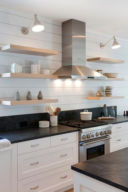 Blond Floating Shelves On Shiplap Walls Transitional Kitchen