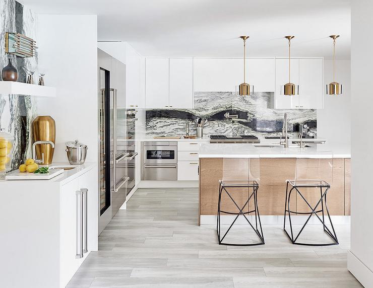 Off White Kitchen Cabinets With Black Backsplash Tiles