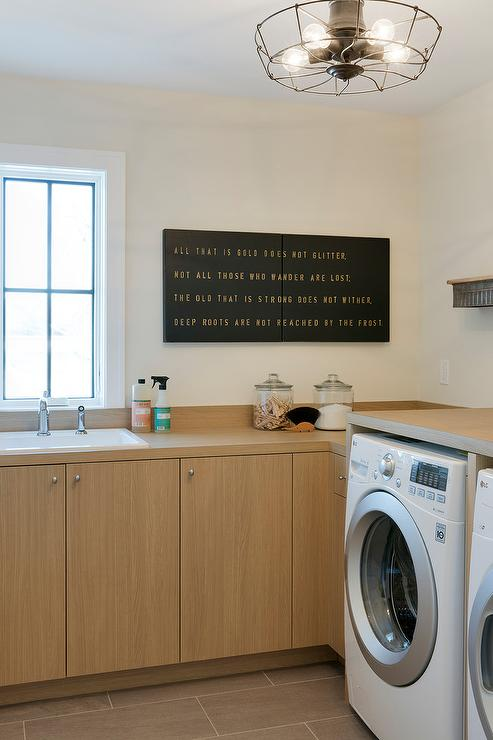 Honey Veneer Laundry Room Cabinets With Countertops