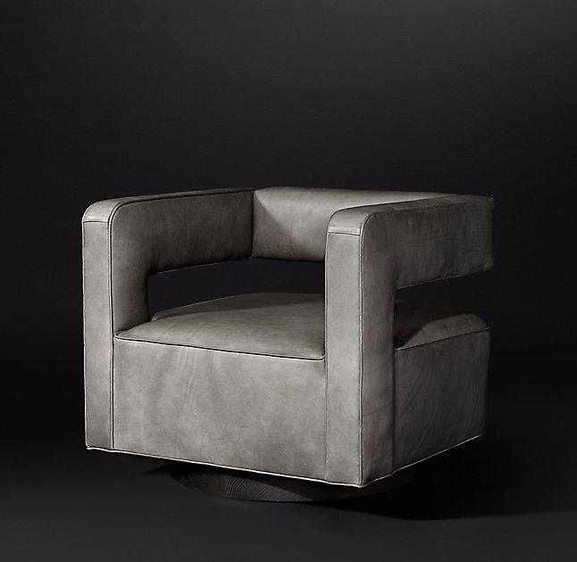 Cool Gray Leather Cube Swivel Chair Machost Co Dining Chair Design Ideas Machostcouk