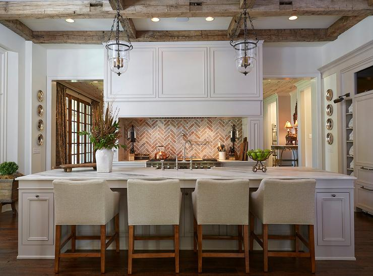This Kitchen Exhibits Drama At All Corners Soft White Walls Defer To The  Vivid Rustic Ceiling.