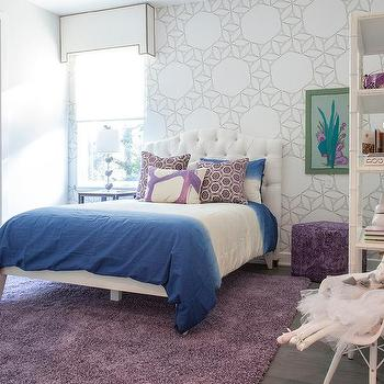 Aqua Blue Girl Bedroom With Gold Lotus Flower Chandelier Over Bed Contempor