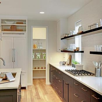 Dark Gray Flat Front Cabinets With White Exposed Brick Backsplash