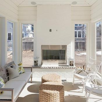 White brick sunroom fireplace design ideas for Sunroom with fireplace designs