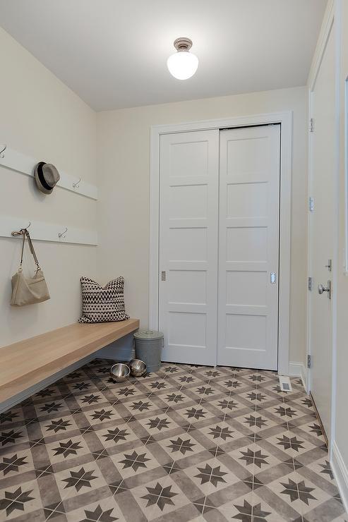 Gray Star Pattern Mudroom Floor Tiles