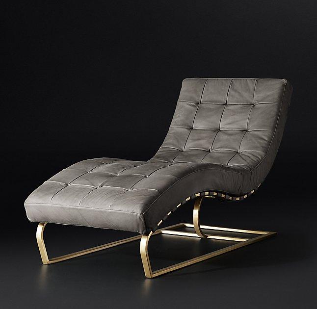 Brooklyn Vintage Tobacco Leather Gold Lounger