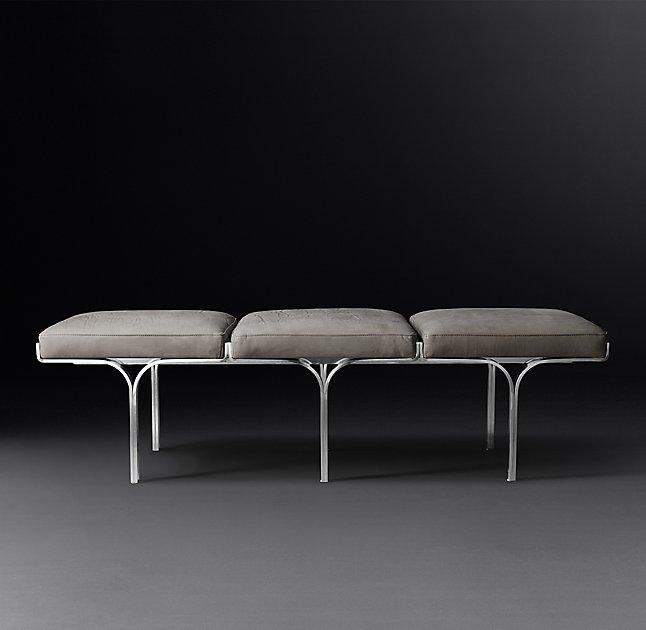 link gray chrome leather bench