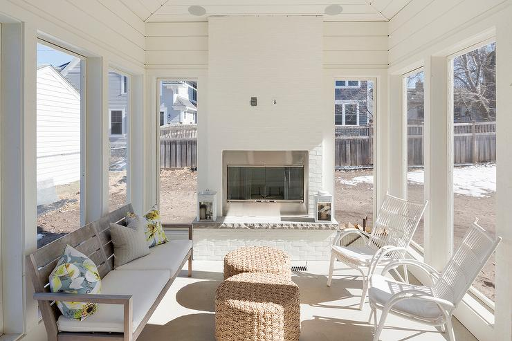 White Brick Sunroom Fireplace Design Ideas