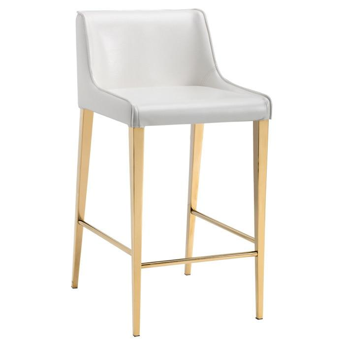 Seating White Leather Counter Stool