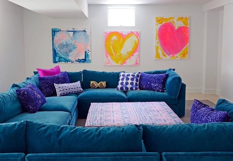 Blue Velvet Sectional With Purple Space Pillows