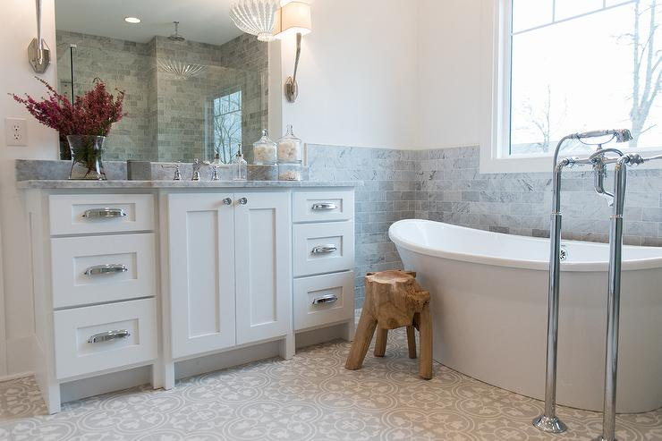 White and Gray Bathroom with Gray cement Tiles - Transitional - Bathroom