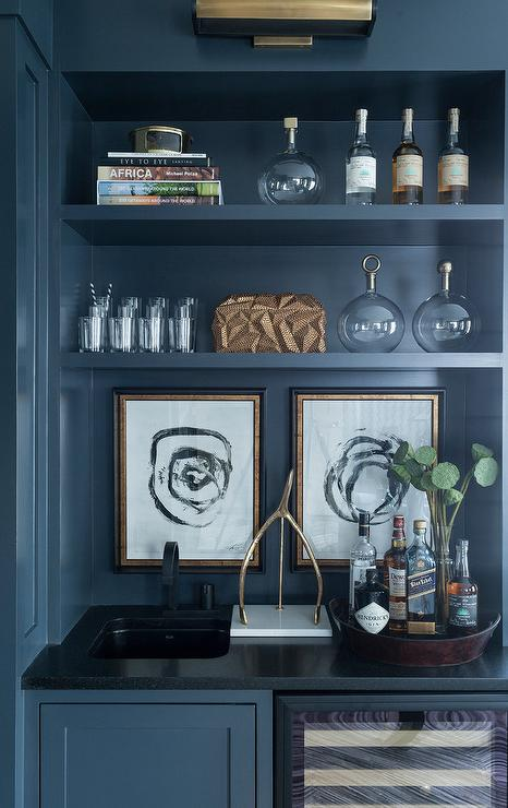 Blue Den Bar With Brass Picture Light