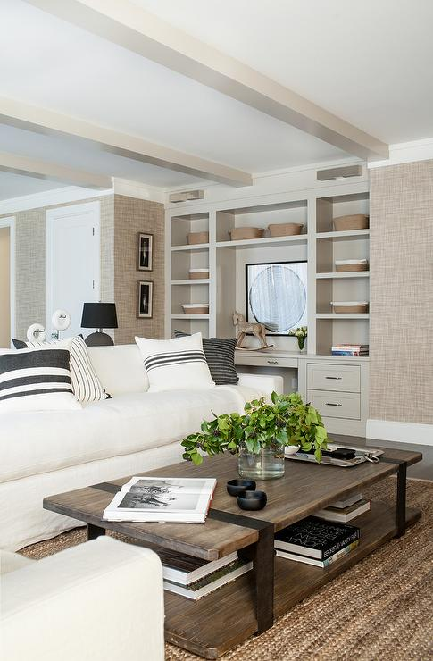 Ivory Linen Sectional with Wood and Metal Coffee Table