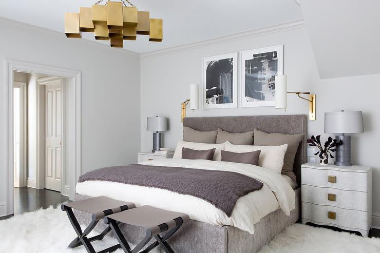 Gray Bedroom with Gold Accents - Contemporary - Bedroom