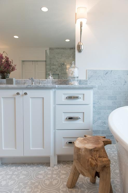 White Washstand with Vintage Cup Pulls - Transitional - Bathroom