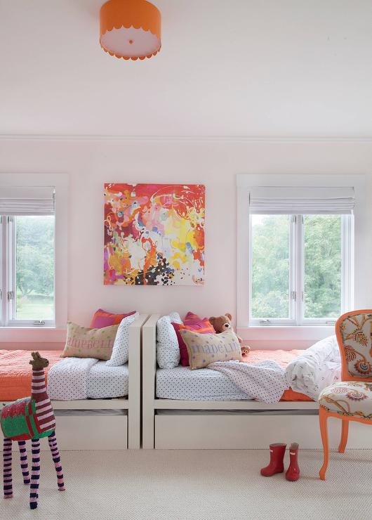 Pink And Orange Kids Bedding Contemporary Girl S Room