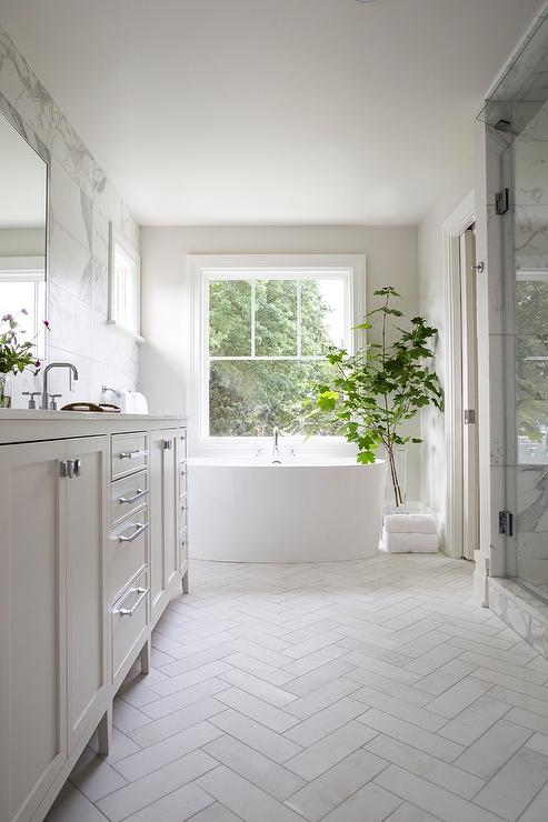 herringbone bathroom floor white shiplap bathroom with gray slate herringbone floor 13106