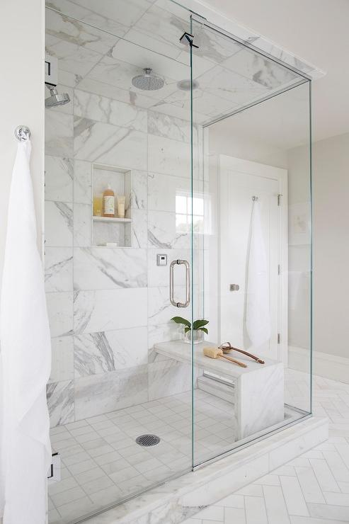 Marble waterfall bench in shower transitional bathroom for Large glass wall tiles