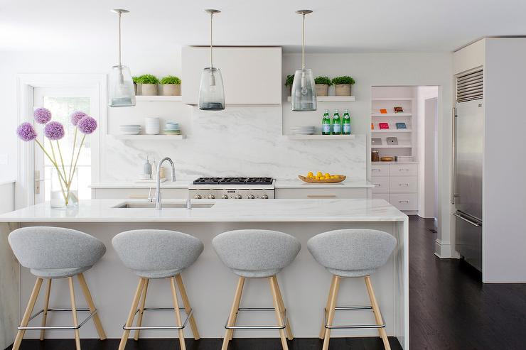 Light Gray Kitchen with Light Gray FLoating Shelves. Light Gray Kitchen with Light Gray FLoating Shelves   Contemporary