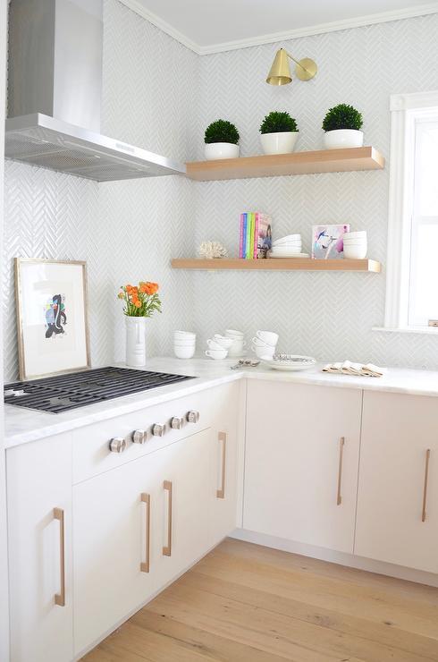 Light Grey Glass Herringbone Kitchen Backsplash Tiles