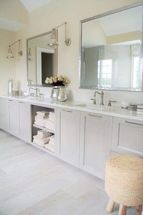 Gray Wash Bath Vanity Transitional Bathroom