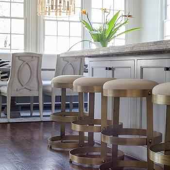 Cream And Gray Granite Countertops Transitional Kitchen