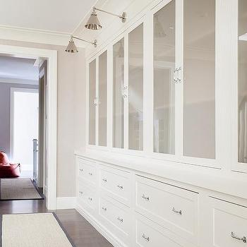 Beau Hallway With Gray Glass Cabinet Doors