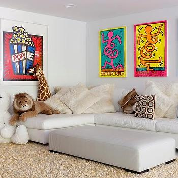 Ordinaire TV Room With Armless White Sectional