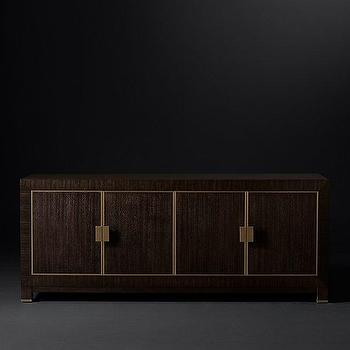 Modern Brown Brass Oak Sideboard