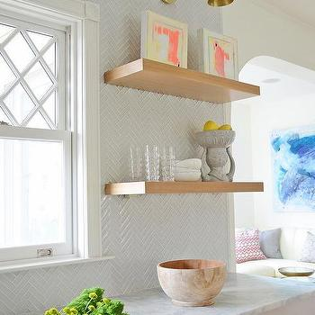 White Kitchen With Wood Floating Shelves Contemporary Kitchen