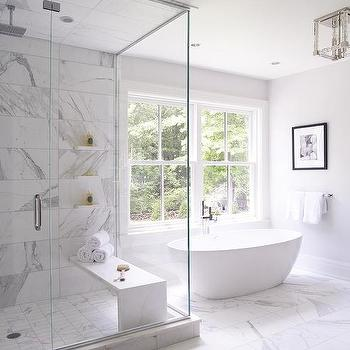 Statuary Marble Shower Walls Transitional Bathroom