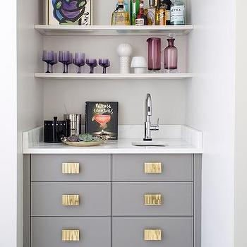 Gray Wet Bar Drawers With Big Gold Pulls
