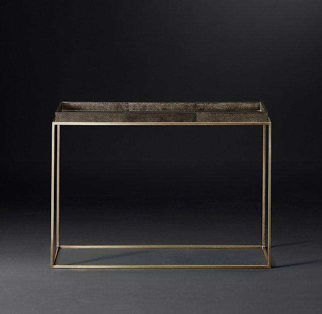 Santiago Modern Burnished Brass Drum Coffee Table: Square Gold Embossed Accent Table