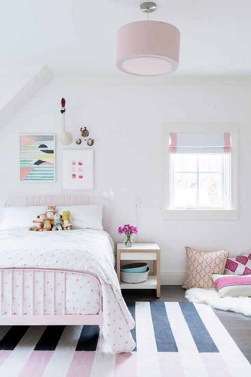 Pink And Black Striped Girl Bedroom Rug Design Ideas